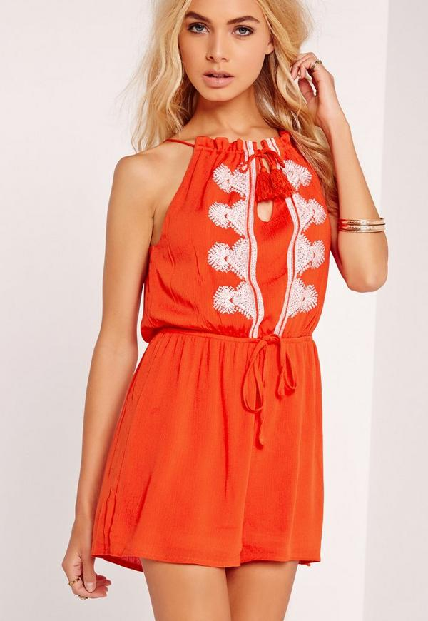 Cheesecloth Strappy Embroidered Playsuit Orange