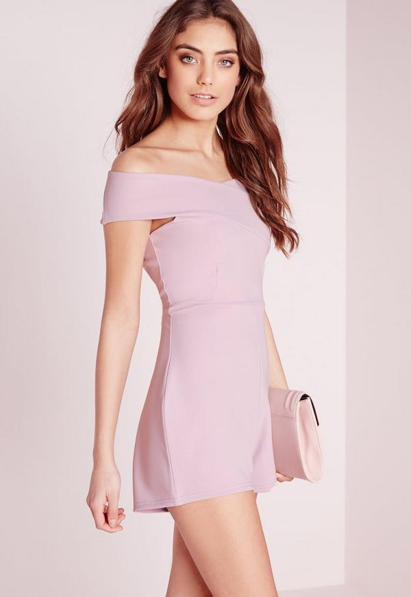 Cross Front Bardot Playsuit Mauve