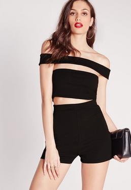 Bandage Bardot Playsuit Black
