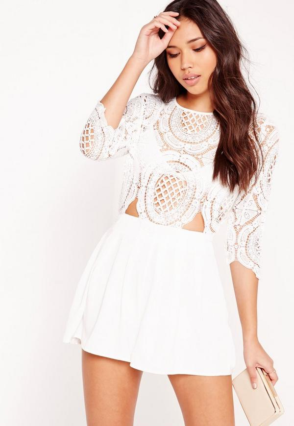 Crochet Lace Cut Out Playsuit White Missguided