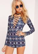 Jersey Tie Dye Lace Up Romper Navy