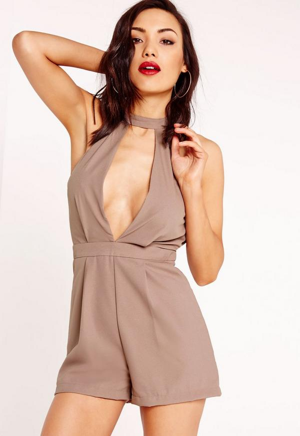 choker split front playsuit taupe
