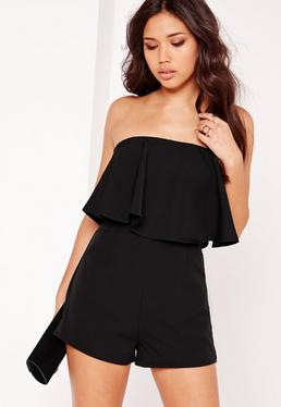 Double Layer Bandeau Playsuit Black