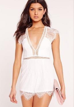 Lace Cap Sleeve Playsuit White