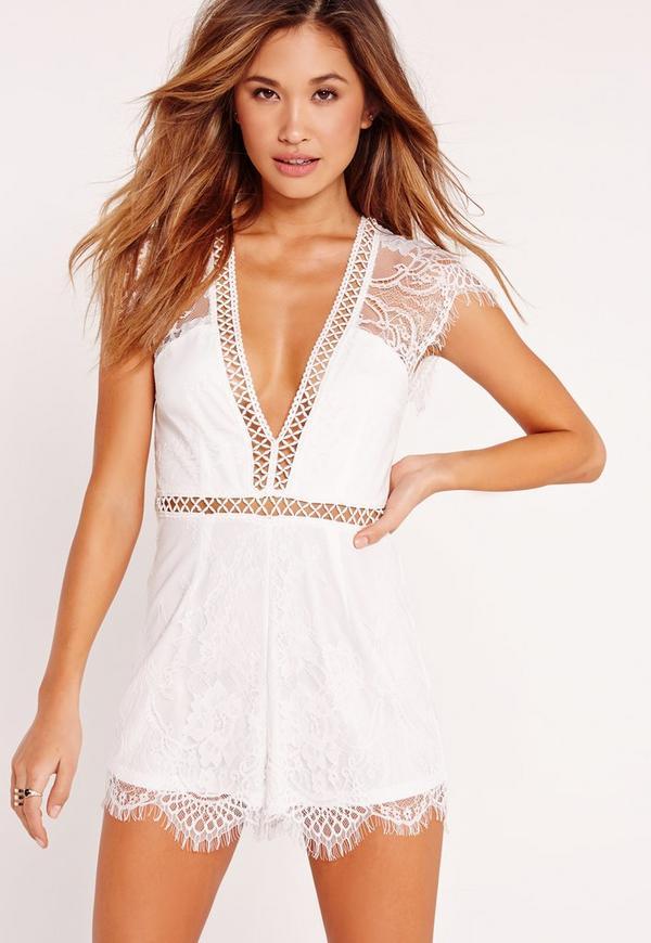 Kimono Sleeve Lace Playsuit White