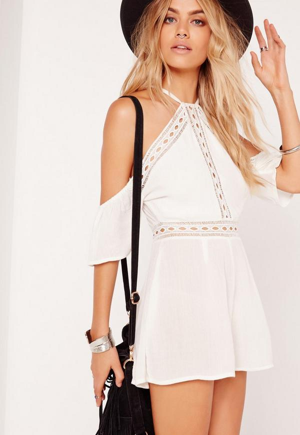 Cheese Cloth Cold Shoulder Playsuit White