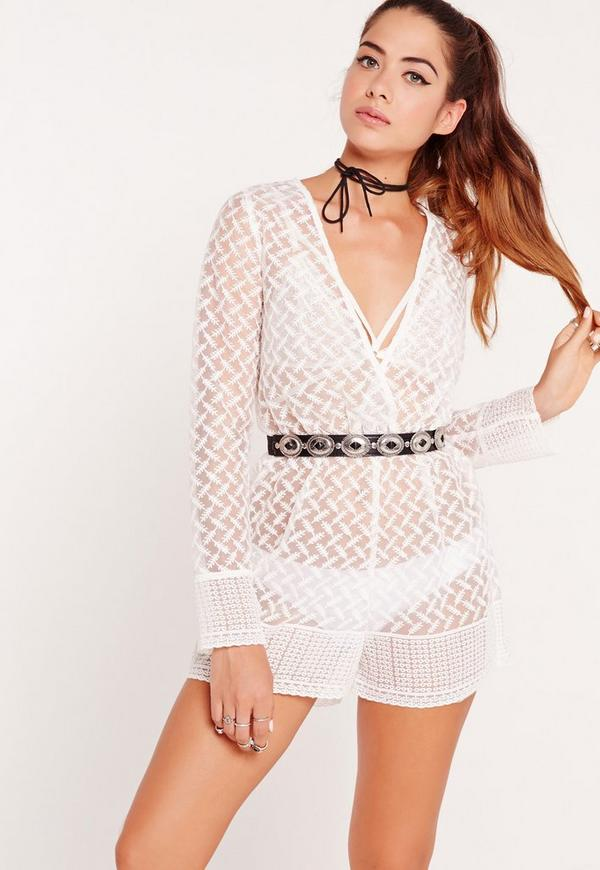 Organza Long Sleeve Playsuit White
