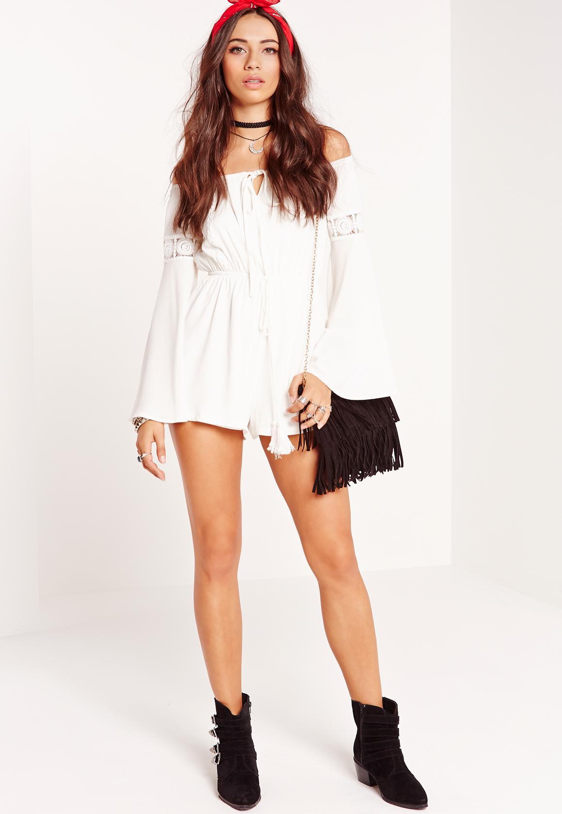 cb482f2b5c47 Crepe Bardot Lace insert sleeve Playsuit White