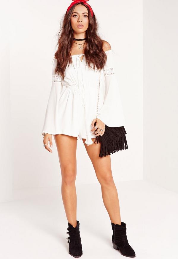 Crepe Bardot Lace insert sleeve Playsuit White