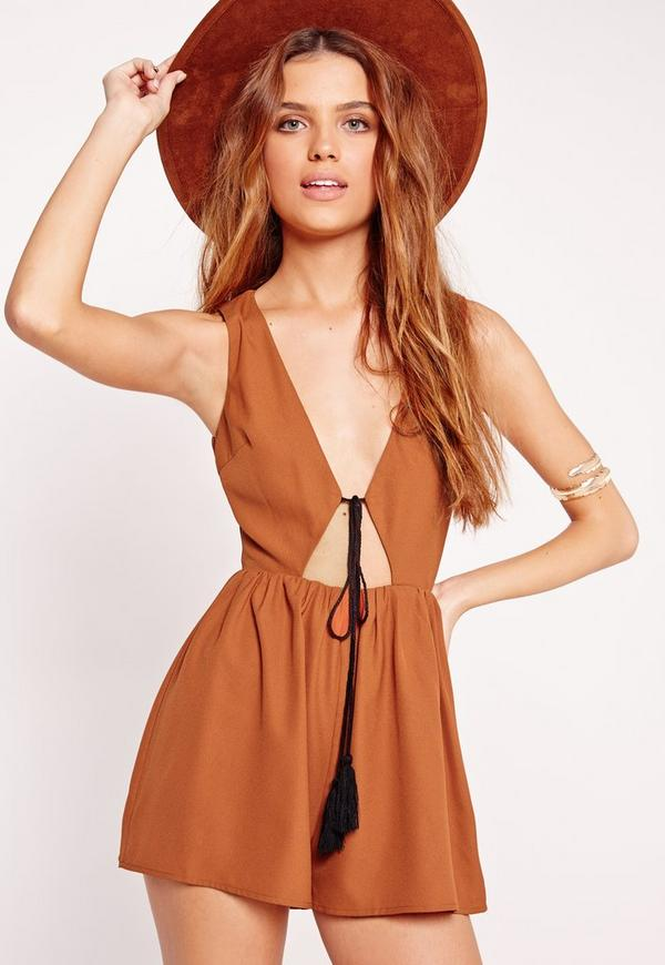 Crepe Sleeveless Tassel Front Playsuit Tan