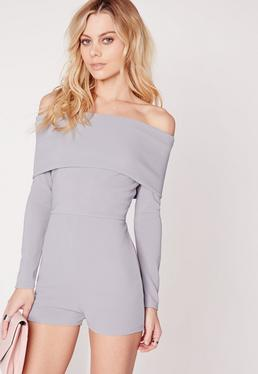 Jersey Bardot Long Sleeve Playsuit Blue