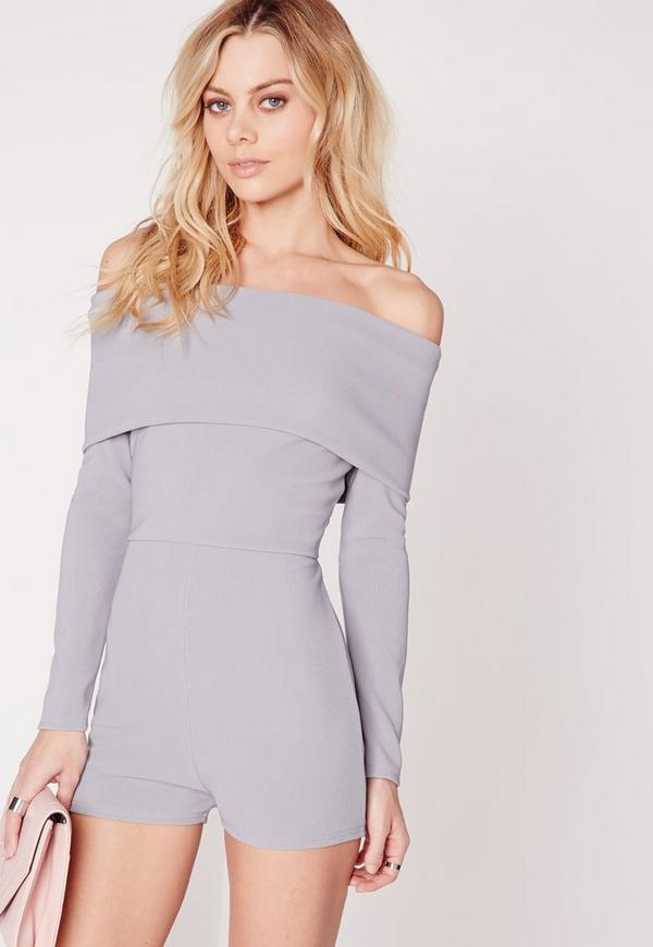 Jersey Bardot Long Sleeve Playsuit Blue