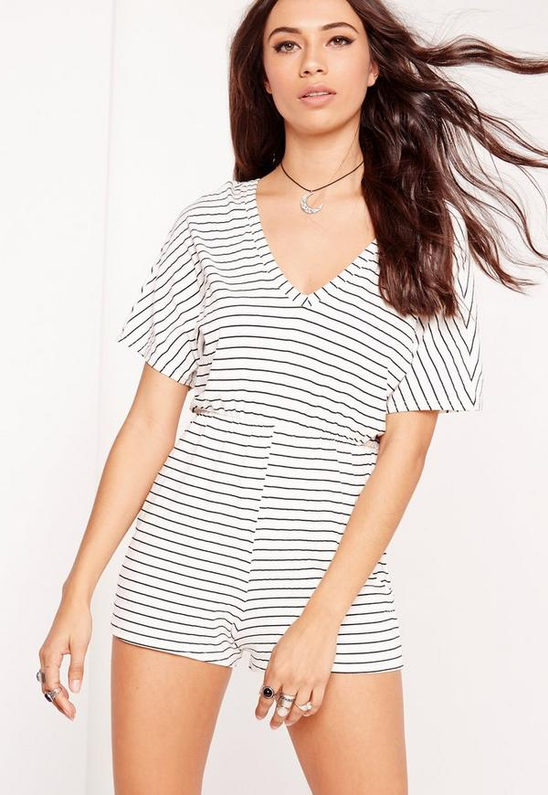 Jersey Pin Stripe Playsuit White