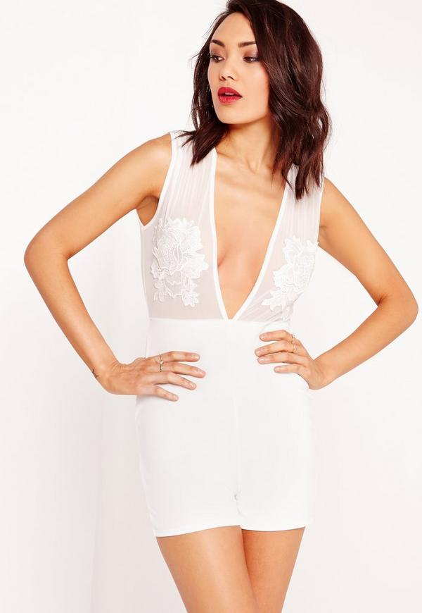 Crepe Embroidered Playsuit White
