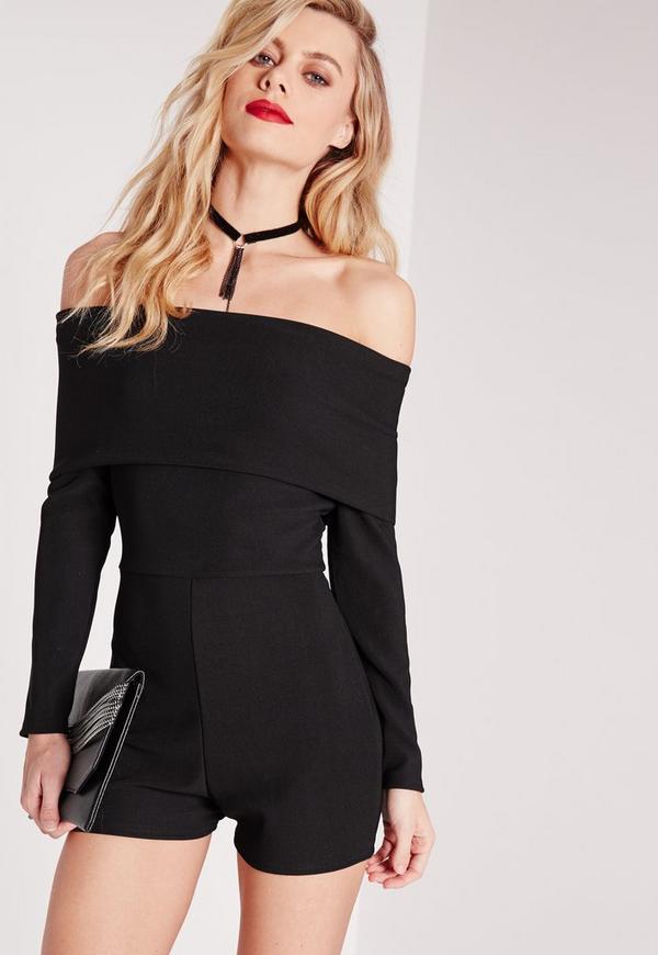 Jersey Bardot Long Sleeve Playsuit Black