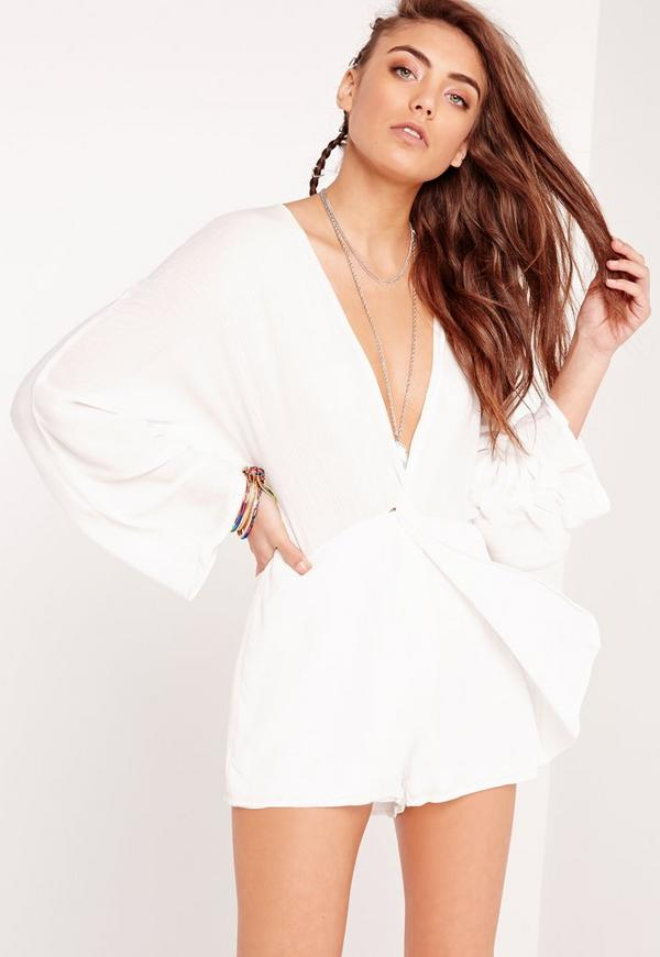Cheesecloth Plunge Playsuit White