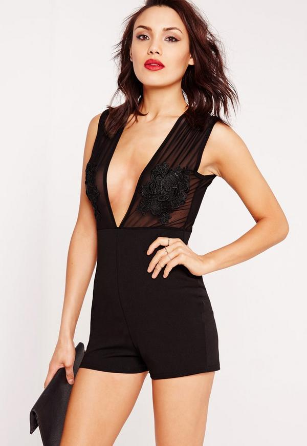 Crepe Embroidered Playsuit Black