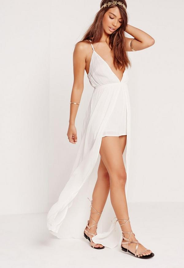 Cheesecloth Skirt Overlay Playsuit White