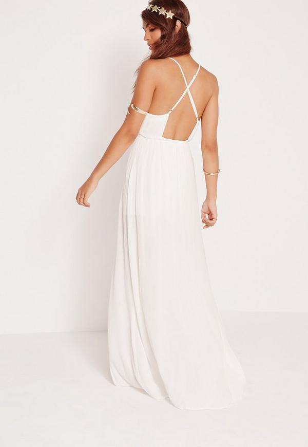 Cheesecloth Skirt Overlay Romper White Missguided