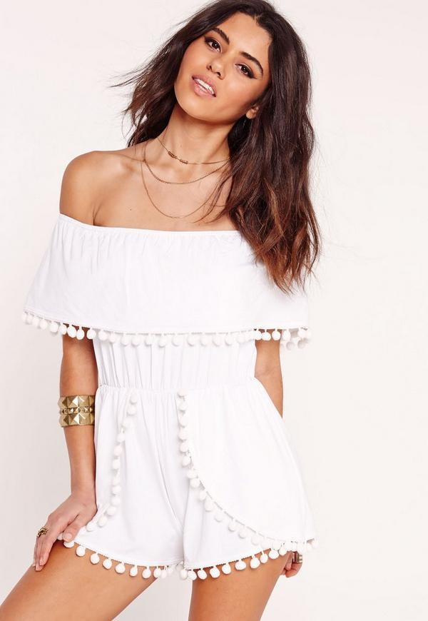Jersey Bardot Pom Pom Detail Playsuit White