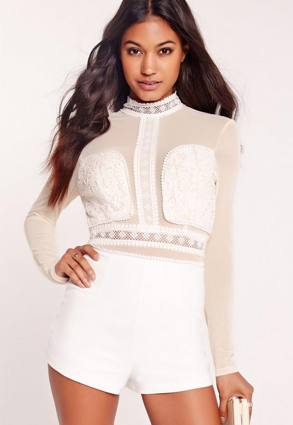 Mesh and Lace Playsuit White