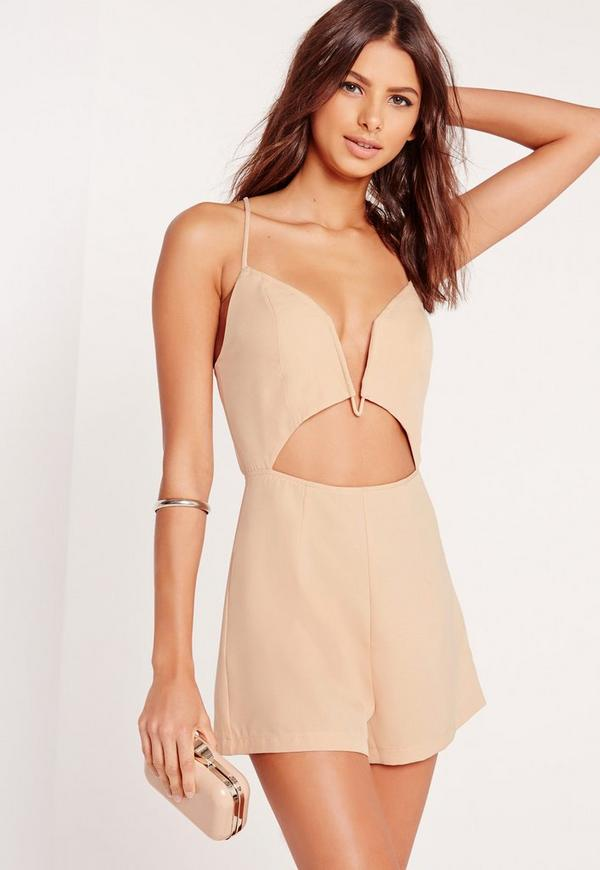 Crepe V-Bar Playsuit Nude