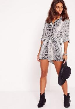 Snake Print Long Sleeve Shirt Playsuit Mono