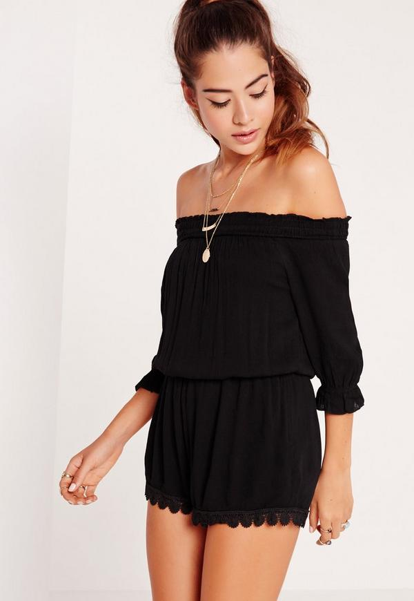 Cheesecloth Bardot Playsuit Black
