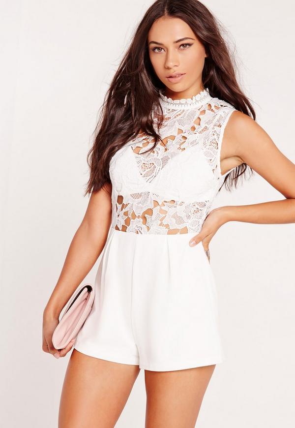 Lace Sleeveless Bra Insert Playsuit White