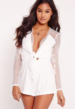 Lace Long Sleeve Tie Front Playsuit White