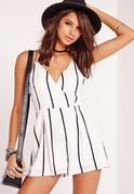 Crepe Strappy Striped Playsuit White