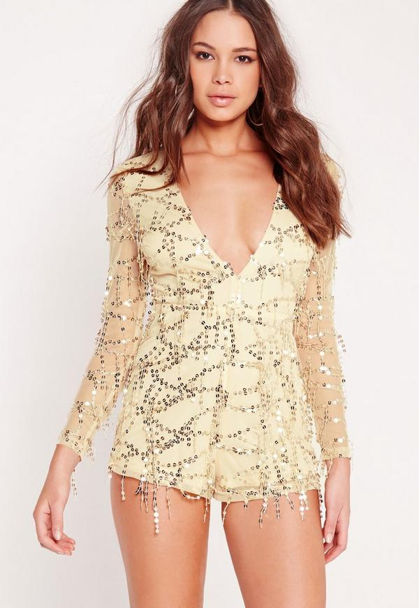 Sequin Long Sleeve Plunge Playsuit Gold