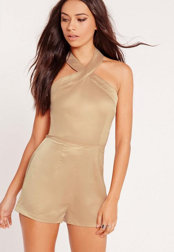 Satin Strappy Back Detail Playsuit Nude