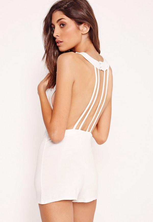 Jersey Strappy Back Detail Playsuit White