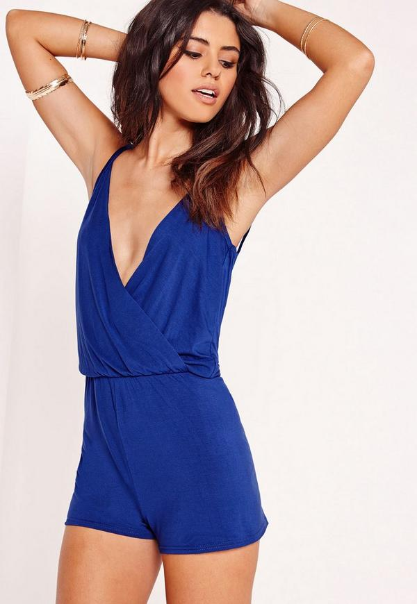 Jersey Wrap Playsuit Cobalt Blue