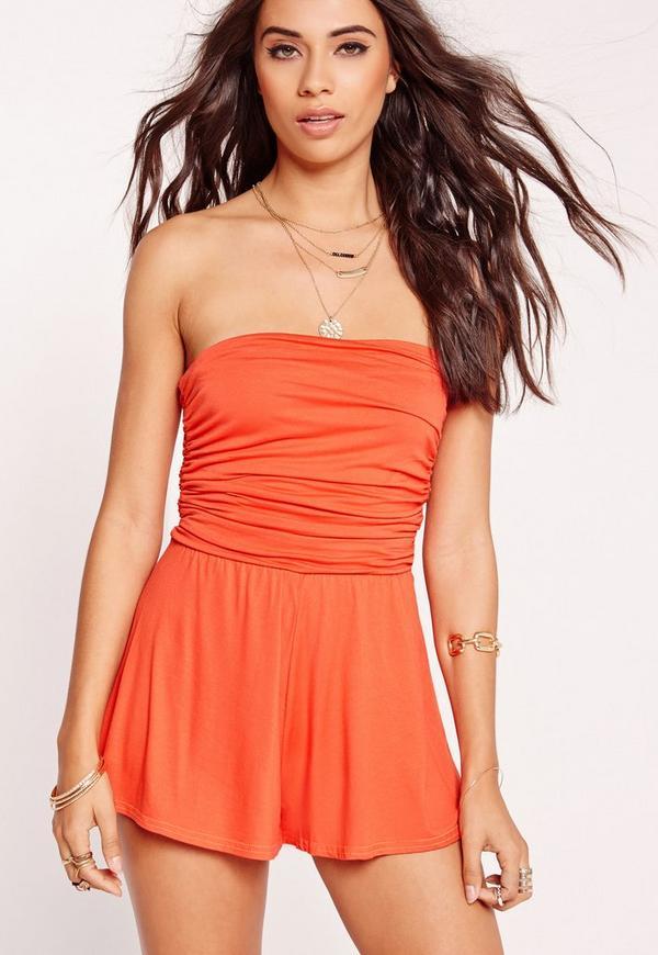 Jersey Bandeau Ruched Playsuit orange