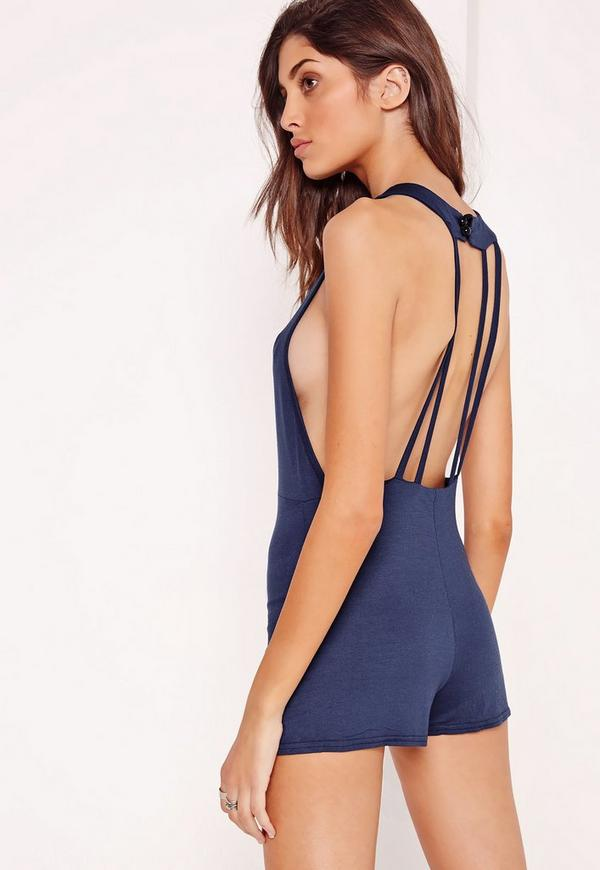 Jersey Strappy Back Detail Playsuit Navy