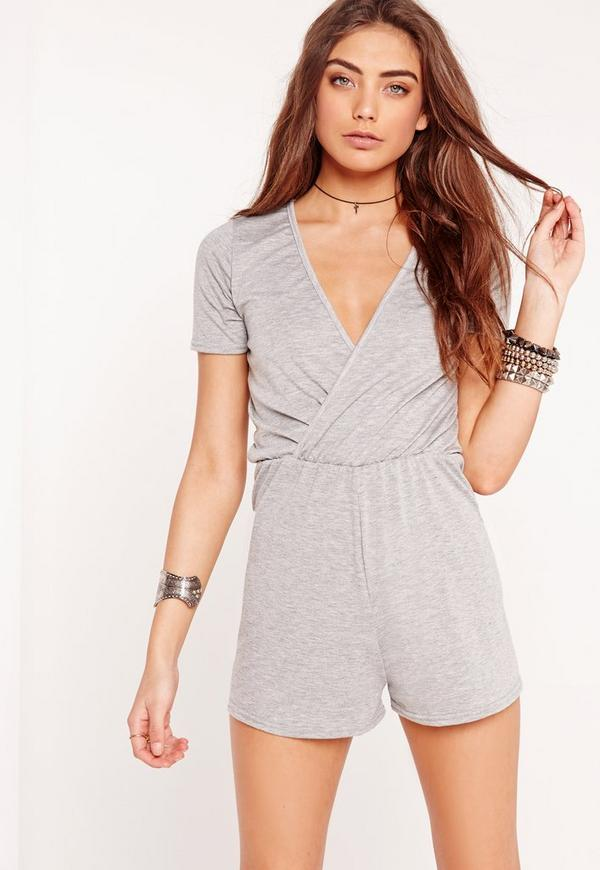 Jersey Short Sleeve Wrap Playsuit Grey