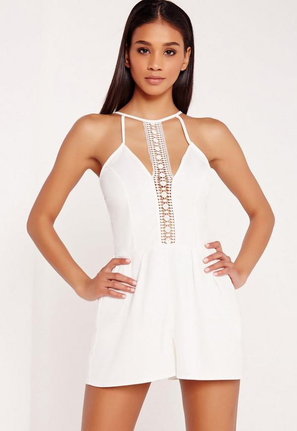 Crepe Strappy Lace Insert Playsuit White
