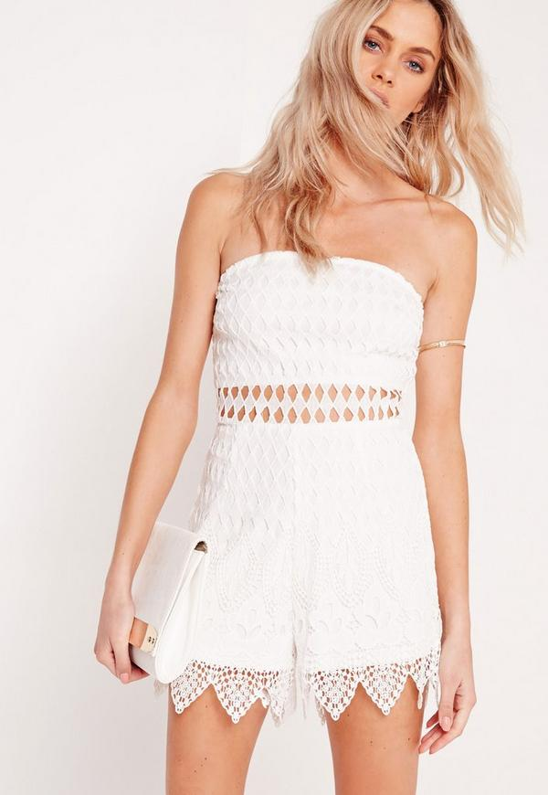 Lace Bandeau Playsuit White