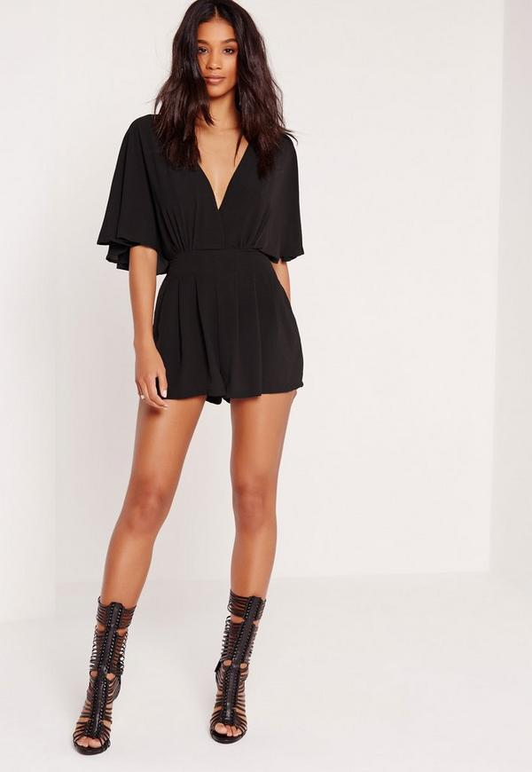 Batwing Sleeve Playsuit Black