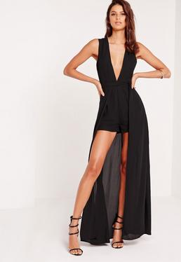 Crepe Sleeveless Skirt Overlay Romper Black