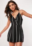 Crepe Strappy Striped Romper Black