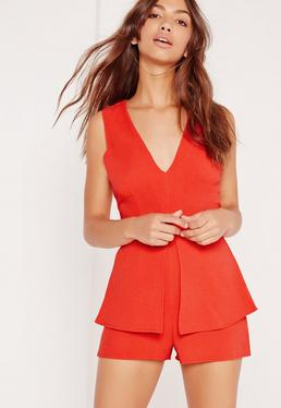 Crepe Sleeveless Origami Playsuit Red