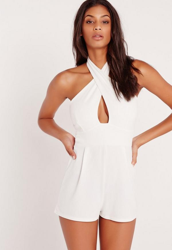 Cross Front Playsuit White