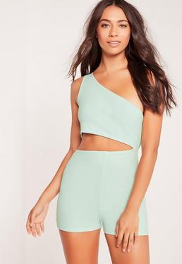 Crepe One Shoulder Cut Out Romper Mint Green