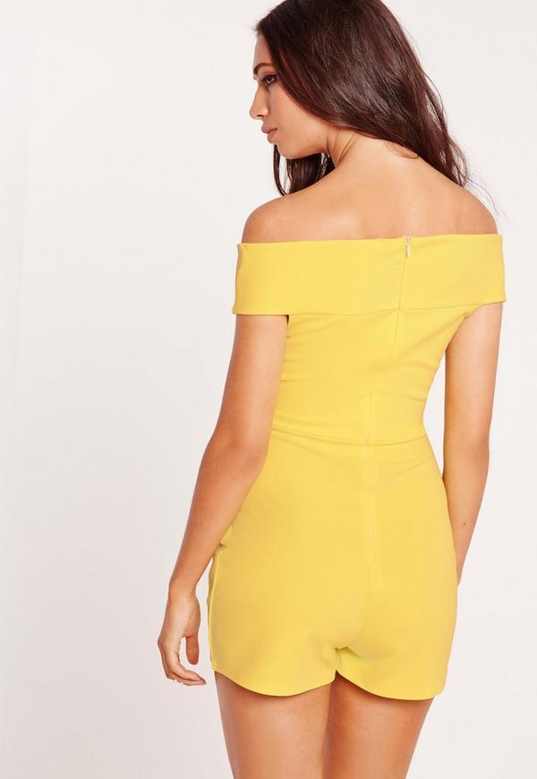 30450463a2 Cross Front Bardot Playsuit Yellow