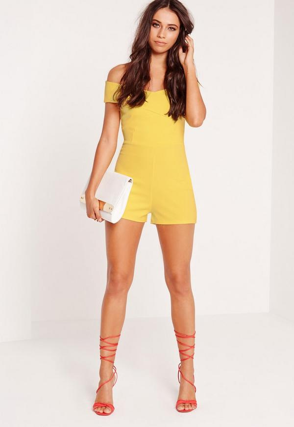 a7de0ceb84 Cross Front Bardot Playsuit Yellow. Was  44.00. Now  22.00 (50% off).  Previous Next