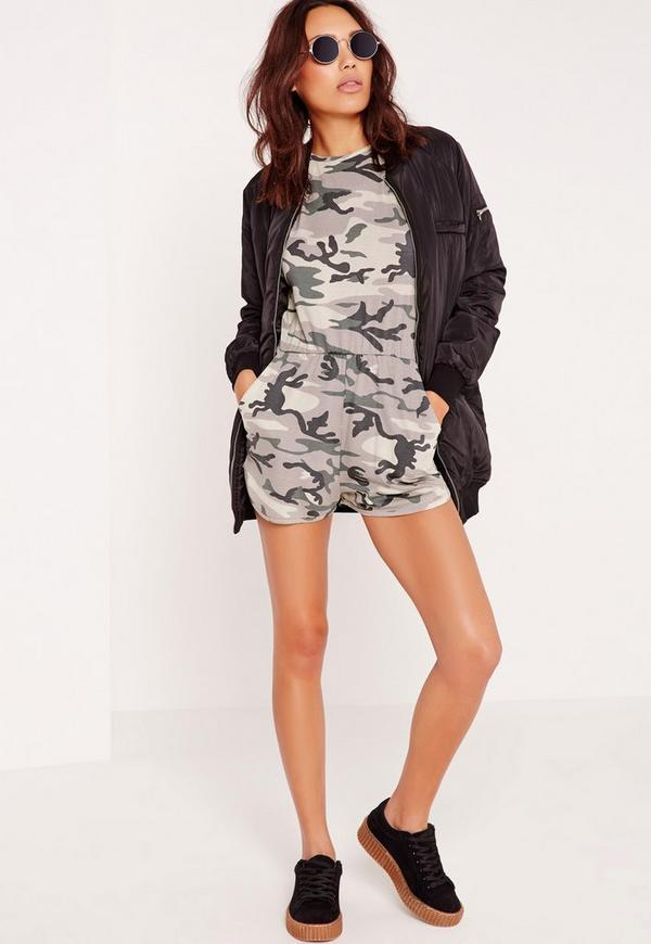Jersey Camouflage Playsuit Green
