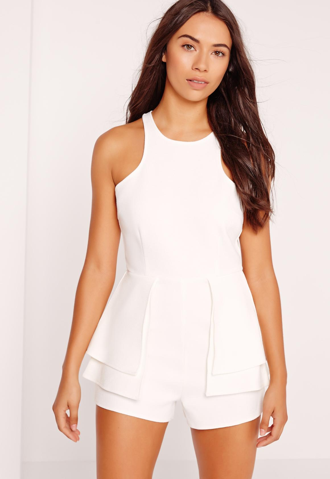 9b15d28ddd Racer Neck Peplum Playsuit White